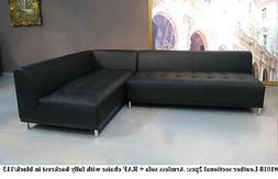 #1018 Modern design black leather sectional chaise + sofa wi