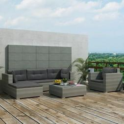 17 Pcs Garden Outdoor Sofa Set Poly Rattan Sectional Couch P
