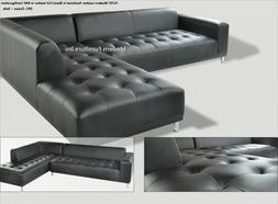 2 pieces set Modern contemporary black Leather Sectional Sof