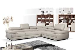 ESF 2119 Modular Sectional Sofa in Light Grey Leather  - Lef