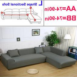 2Pcs Sofa Cover Couch Slipcover Gray for  L 3+3 Seater Secti