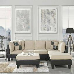 3 PC Sofa Set Sectional Sofa Reversible Chaise Matching Otto
