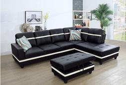 Golden Coast Furniture 3PC Sectional Sofa Set Black and Whit