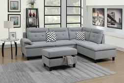 3Pcs Modern Grey Linen-Like Fabric Sectional Sofa Set with S