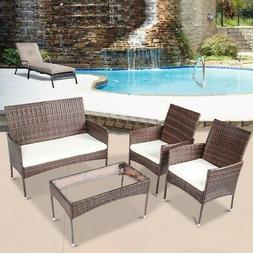 4-Piece Sectional Rattan Patio Furniture Wicker Garden Lawn