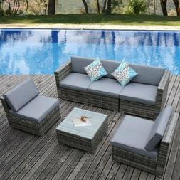 YITAHOME 6Pcs Rattan Wicker Sofa Outdoor Cushioned Couch Sec