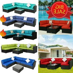 7PC Outdoor Patio Furniture Sofa Set Sectional Couch PE Wick