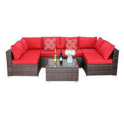 HTTH 7PC Outdoor Sectional Patio Furniture Sofa Set Rattan w