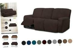 8 Pieces Microfiber Stretch Sectional Recliner Sofa Slipcove