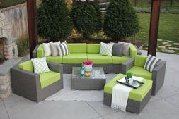 8PC Gray Wicker Modern Rattan Patio Set Outdoor Sectional So