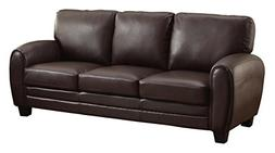 Homelegance 9734DB-3 Upholstered Sofa, Dark Brown Bonded Lea