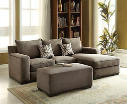 Alano Gray Chenille Sectional Sofa with Left Chaise and Nail