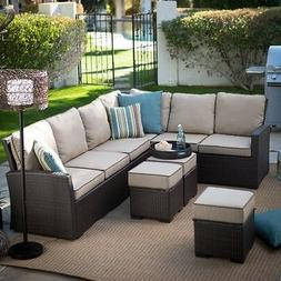 All-Weather Outdoor Patio Wicker Sofa Sectional Conversation