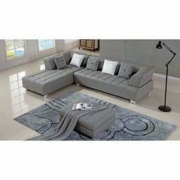 American Eagle Grey Bonded Leather Living Room Sectional Gre