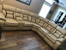 amite sectional sofa 6 piece recliners leather