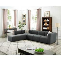 LILOLA Archie Modular Sectional Sofa with Ottoman in Steel G