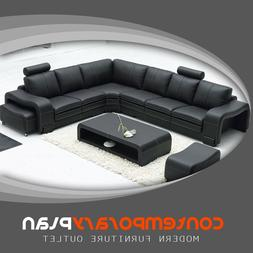 Black Italian Leather Sectional Sofa with Headrest, Matching