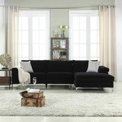 Black Large Velvet Fabric Sectional Sofa, L-Shape Couch with