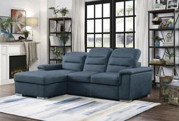 BLUE LEATHER LIKE QUEEN SLEEPER STORAGE SOFA SECTIONAL LIVIN