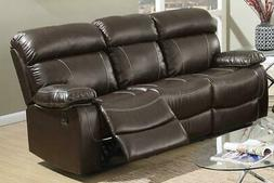 Brown Bonded Leather Motion Sofa F6720 Poundex Modern