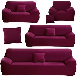 Candy Violet Stretch Sofa Covers Protector Couch Slipcover F