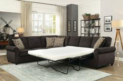 CHOCOLATE BROWN CHENILLE QUEEN SLEEPER SOFA SECTIONAL LIVING
