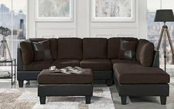Classic Brown Microfiber/Faux Leather 3-Piece Sectional Sofa