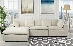 Classic Large Beige Fabric Sectional Sofa, L Shape Couch wit