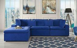 Classic Large Velvet Sectional Sofa, L Shape Couch with Wide