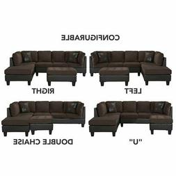 Classic Living Room Microfiber/Faux Leather 3-Piece Sectiona