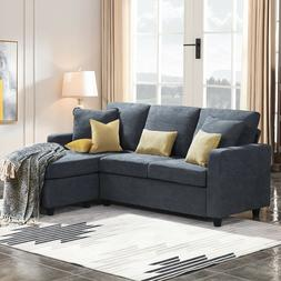 Dark Grey Sectional Sofa L-Shaped Couch W/Reversible Chaise