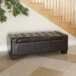Rothwell Contemporary Tufted Bonded Leather Storage Ottoman