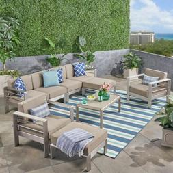Emily Coral Outdoor Aluminum 6-Seater Sectional Sofa Set wit