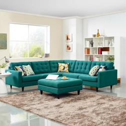 Modway Empress Mid-Century Modern Upholstered Fabric Section