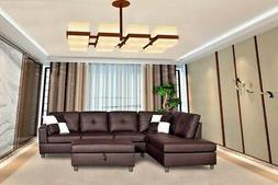 Legend Faux Leather Right-Facing Sectional Sofa Set With Fre