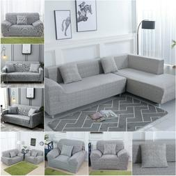 #Gray L Shape Sofa Couch Cover Sectional Stretch Elastic Fab