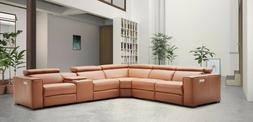 J&M Furniture Picasso Carmel Top Grain Leather Motion Sectio