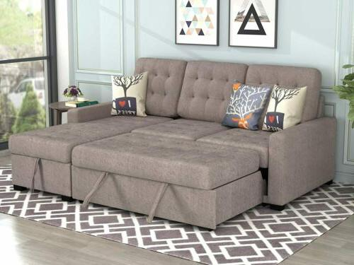 2PCS Upholstery Chaise with Space