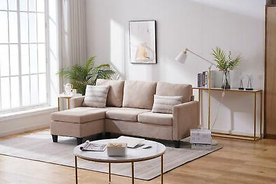 3 Linen Sectional Chaise Combination
