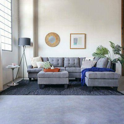 3 Piece Sofa Modern Tufted Grey Reversible L-Shape Sectional