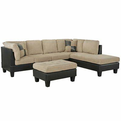 3 piece microfiber faux leather sectional sofa