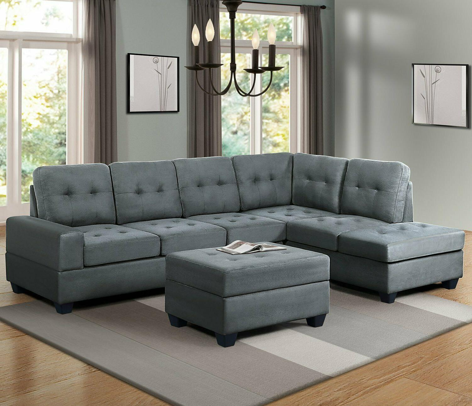 3 Sectional Microfiber Chaise Storage