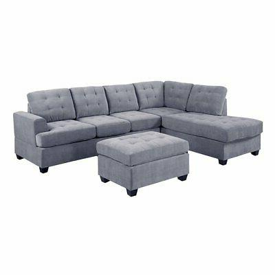 3 PC Modern Reversible Sectional Sofa L-Shape Couch with Mat