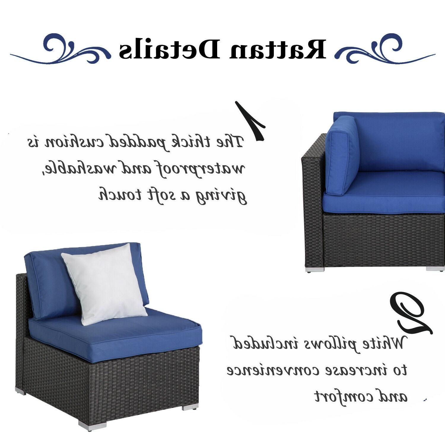7 Outdoor Furniture Patio Rattan Wicker Sectional Blue