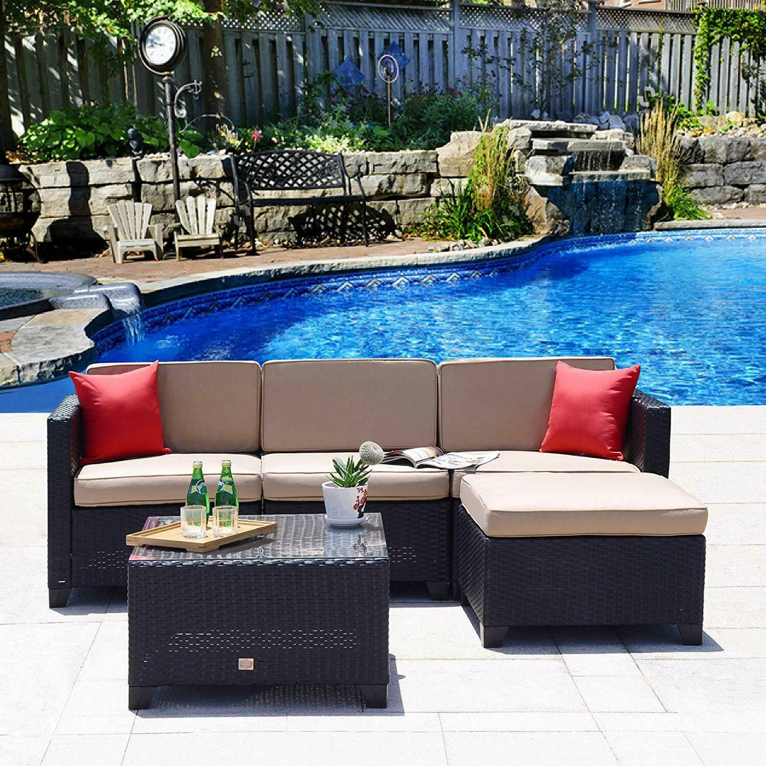 7pc rattan wicker sofa set sectional couch