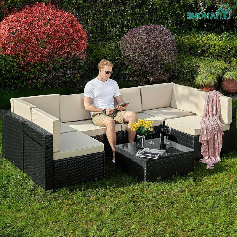 7pcs outdoor patio sectional furniture pe wicker