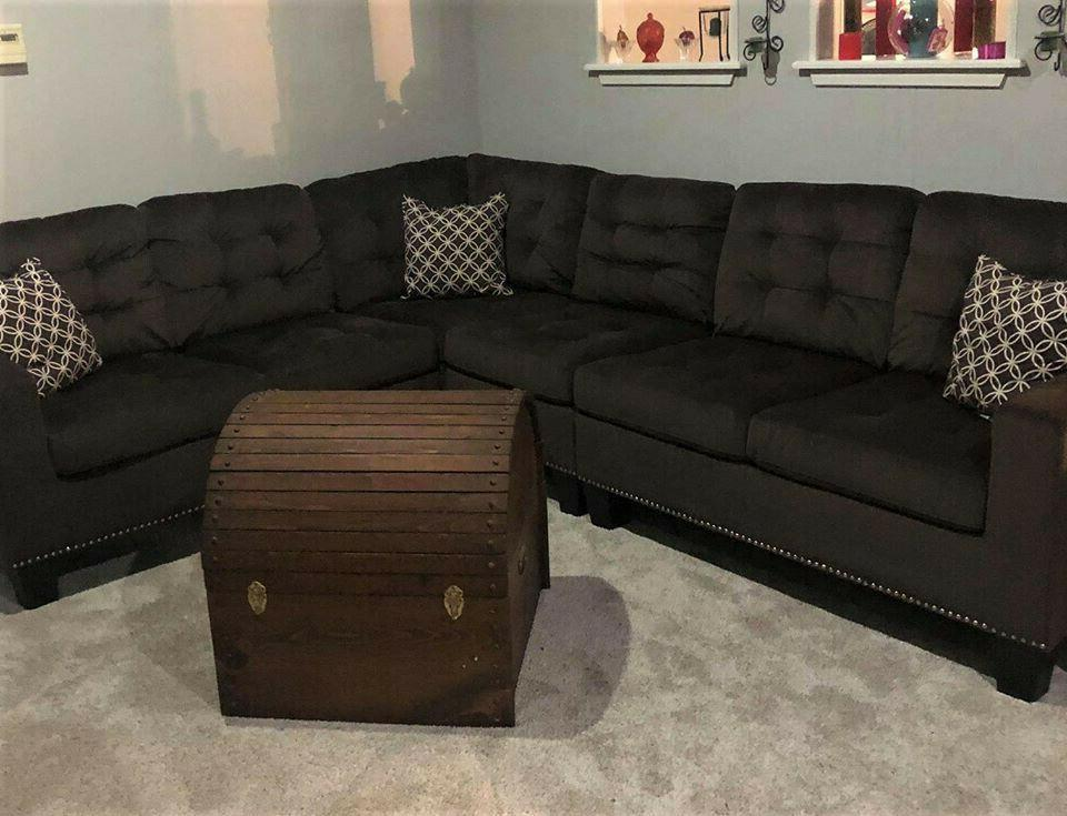chocolate microfiber sectional brown brand new in