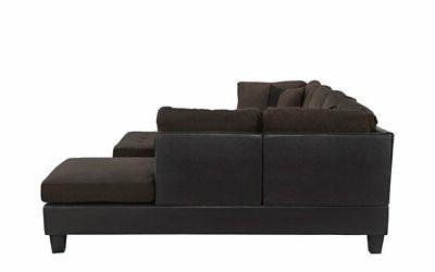 Classic Microfiber/Faux 3-Piece Sectional Chocolate