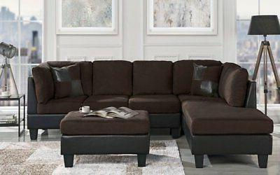 classic brown microfiber faux leather 3 piece