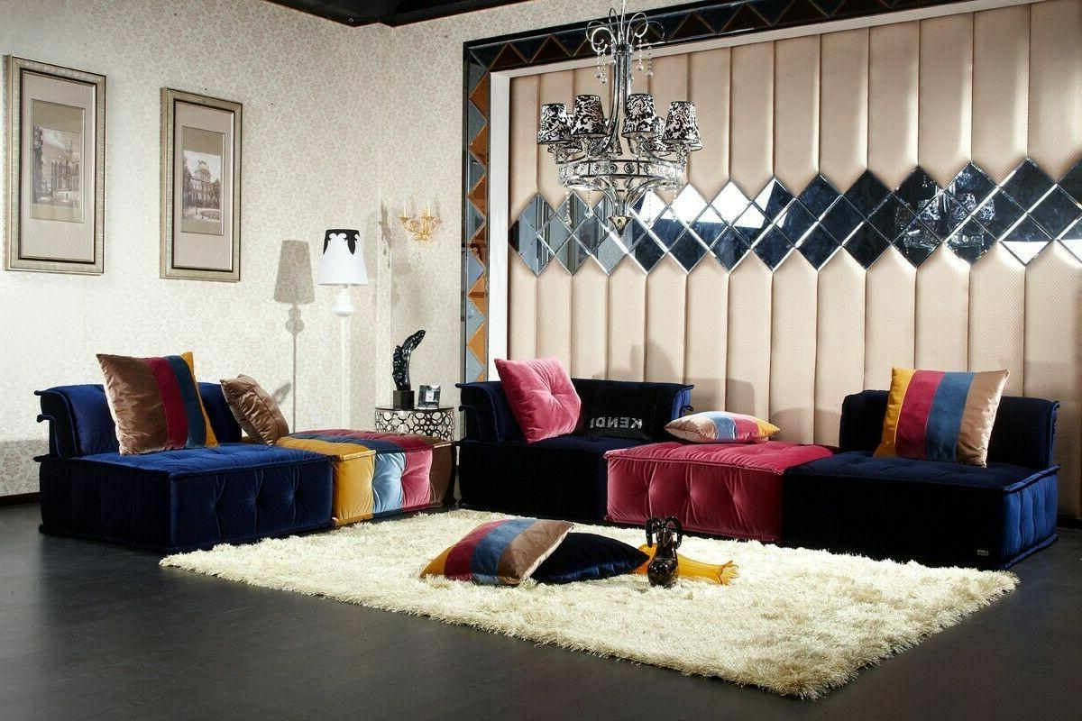 Colorful  Velvet Contemporary Fabric Sectional Sofa